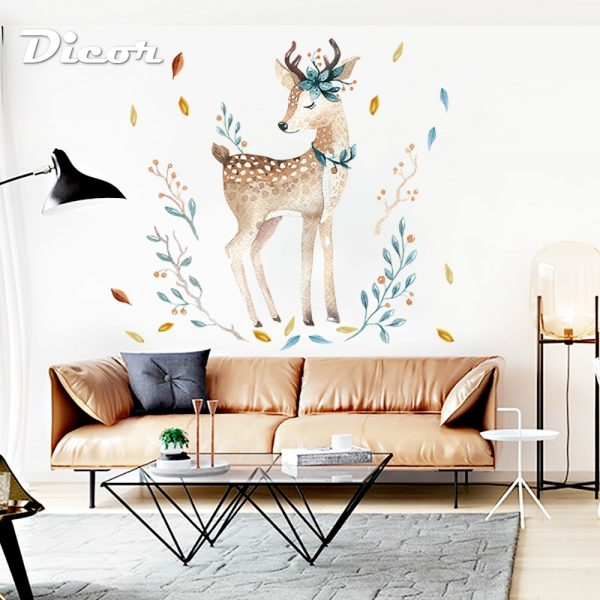 DICOR-Painted-Fawn-Wall-Stickers-Animals-Cute-For-Livingroom-Decoration-DIY-Removable-Wall-Decal-Studyroom-Home