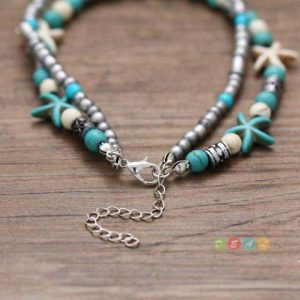 Sea Turtle Silver Anklet With Aqua Beads
